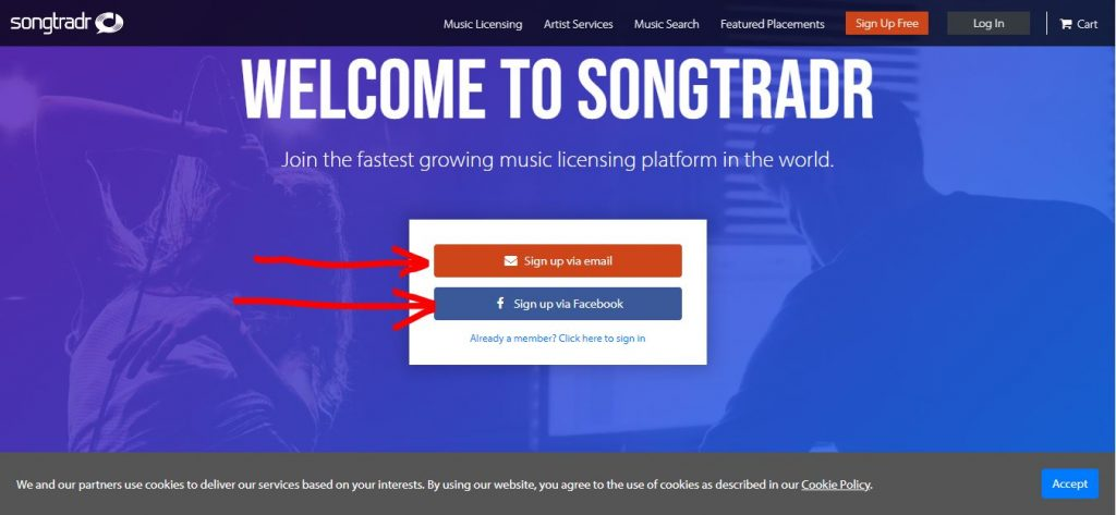 sign Up songtradr