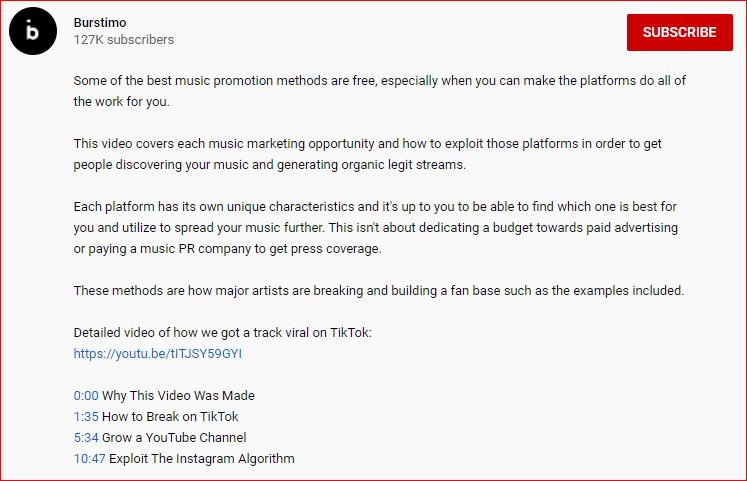 Youtube video description to grow a music youtube channel