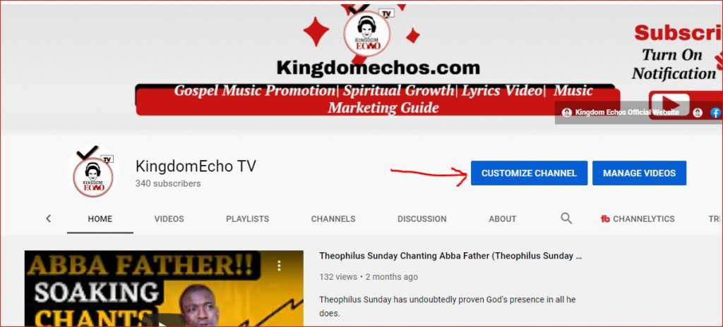 customise youtube channel