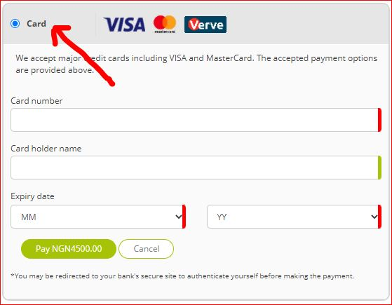 Fill in your Card details